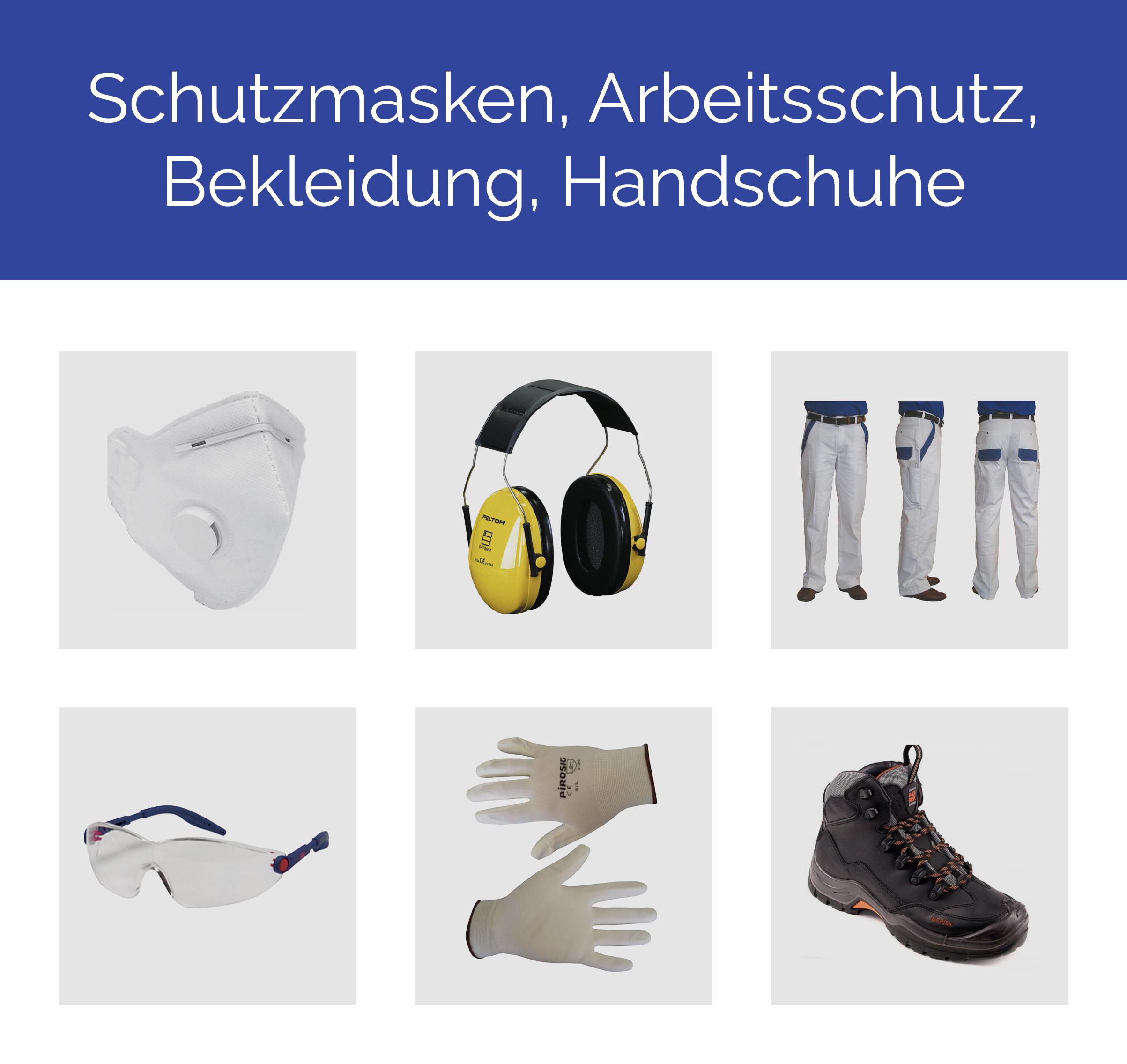 Schutzmasken, Arbeitsschutz, Bekleidung, Handschuhe
