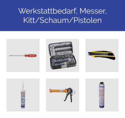 Werkstattbedarf, Messer, Kitt, Schaum, Pistolen